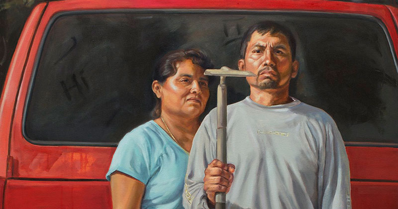 """The New American Gothic"" by Criselda Vasquez (Oil on Canvas 72″ x 48″) – Buythennow"